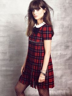 Zooey Deschanel's red plaid dress in Marie Claire September 2013
