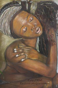 """Pastel """"Mina Femme d'Afrique""""-Portrait Pastel sec sur papier abrasif"""