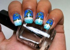 Nails By Celine: Tropical Beach Nail Art....includes tutorial!