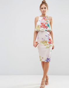 Image 4 of ASOS Double Ruffle Floral Crop Top Midi Pencil Dress