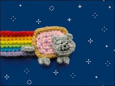 Nyan Cat Bookmark and other free crochet patterns! #crochet #cat