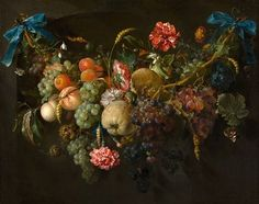 Jan Davidsz de Heem, Guirlande van vruchten met enkele bloemen, waarschijnlijk 1650 - 1660.