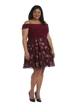 This versatile gown by Morgan & Co. features a mesh bodice insert and is sleeveless. Prom Dresses Under 100, Formal Dresses, Dresses For Apple Shape, Off The Shoulder, Cold Shoulder Dress, Apple Body Shapes, Plus Size Cocktail Dresses, Classy Dress, Plus Size Women