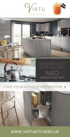 Expression Neo Evening Mist Matt. Contemporary kitchen design includes stylish curved cabinets. #VirtuKitchens