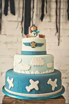 aviator baby shower cake