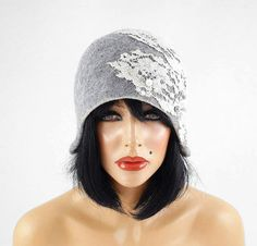 459b590551a Felted Hat Grey Hat Cloche Flapper hat Art Deco wool hat wearable art wool  felt nunofelt nuno felt silk eco fiber art