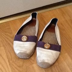 Tory Burch Espadrilles Flats good used condition. Please look at pictures for condition. Dirt on shoes needs cleaning. Very nice shoes. Shoes only. Please tag for any reason. Smoke free home. Thank you. Tory Burch Shoes Flats & Loafers