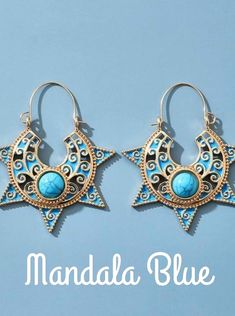 Blue Mandala Ethnic Earrings. Complete the collection by getting all four earrings. These are unique and stylish! Boho mandala lotus flower hoop style earrings. They are the perfect everyday earrings for any stylish gal with matching color wardrobe! Filigree Earrings, Boho Earrings, Vintage Earrings, Sterling Silver Earrings, Drop Earrings, Shape Patterns, Ethnic, Jewels, Mandala Design