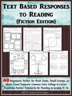 Whether you are striving to implement the United States Common Core Standards or not, these 40 text-based response graphic organizers are going to challenge your students like never before. ($)