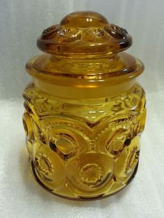 "L.E. Smith Moon and Stars Small Tea Canister 5"" With Lid Amber Vintage"