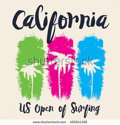 Vector illustration on the theme of surf and surfing in California. Grunge background. Typography, t-shirt graphics, poster, print, banner, flyer, postcard
