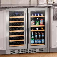 Wine Enthusiast Somm Series 2 Door Dual Zone Wine and Beverage Center Wine Home Decor Ideas Wine And Beer Fridge, Wine And Coffee Bar, Wine Cooler Fridge, Beer Cooler, Drinks Fridge, Beverage Refrigerator, Undercounter Refrigerator, Wine Dispenser, Beverage Center