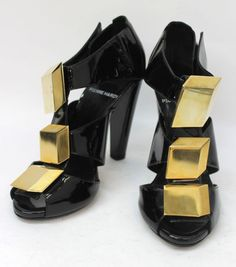 PIERRE HARDY Black Ladies Leather Gold Cube Patent High...