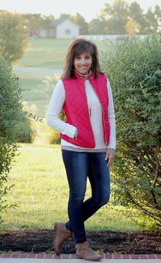 Cozy layers for fall..striped turtleneck, sweater and red vest.