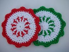 Peppermint Coasters 1 by BearsyCat, via Flickr. Free Ravelry download.