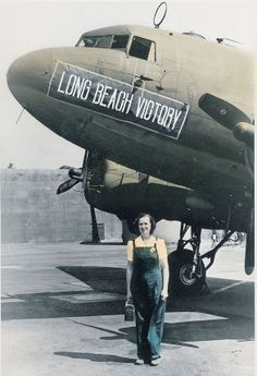 Edna Holmen Brink, was a riveter at the Douglas aircraft plant in Long Beach, California during the war