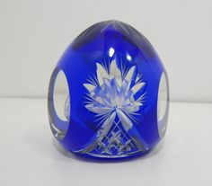 Antique Cut to Clear Cobalt Blue Glass Crystal Paper Weight