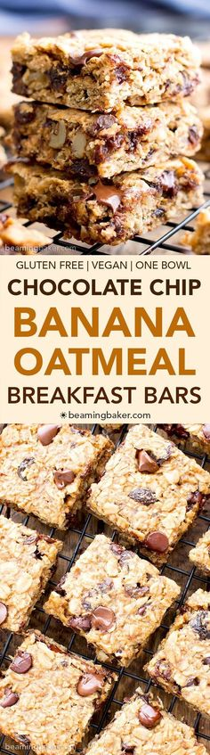 Gluten Free Banana Chocolate Chip Oatmeal Breakfast Bars (V, GF): a one bowl recipe for simply delicious banana breakfast bars packed with your favorites for a good morning! #Vegan #GlutenFree #DairyFree | http://BeamingBaker.com