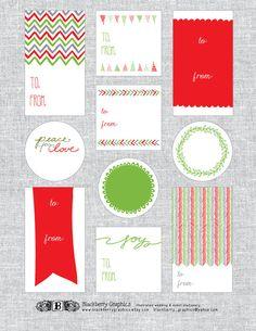 diy PRINTABLE Christmas gift tags, custom, red and green. $5.00, via Etsy.