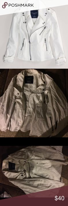 American Eagle White Denim Moto Jacket Cute Moto jacket for a cool day or night. Looks great with jeans or over a cute dress. I absolutely love this jacket. It has only been worn a few times. No marks American Eagle Outfitters Jackets & Coats Jean Jackets