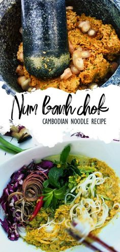 Khmer Food Recipe: Num Banh Chok is Cambodian noodle topped with fish-based yellow kreoung curry, eaten with raw vegetables and other Cambodian herbs. Noodle Recipes, Curry Recipes, Fish Recipes, Seafood Recipes, Asian Recipes, Dinner Recipes, Healthy Recipes, Ethnic Recipes, Cambodian Noodle Recipe