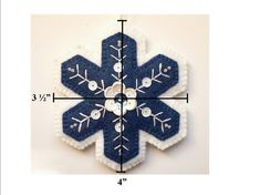 This 3 1/2 x 4, heirloom quality folk art Christmas tree ornament is made from blue and white wool felt and embroidered and embellished with white and blue sequins and beads that catch the light and glitter. This ornament is available decorated on both sides for $20.00, or on just one side for $10.00. This elegant snowflake by Patricia Welch Designs will not only add a touch of sparkle and freshness to your tree, but also would be a lovely keepsake ornament for someone special in your life…