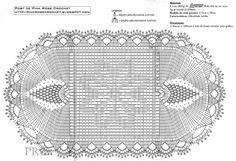 tapete oval de crochê com graficos