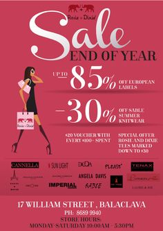Massive sale is on now @Rosie and Dixie Boutique, 17 William street, Balaclava. Don't miss out!