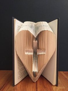 Cross in Heart - Folded Book Art - Unique - Religious - Christian Book Folding Patterns Free, Book Folding Templates, Paper Folding, Old Book Crafts, Book Page Crafts, Paper Crafts, Diy Crafts, Book Sculpture, Paper Sculptures