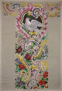 PRETTY ANTIQUE HAND PAINTED BERLIN TAPESTRY PATTERN. DOVE + SCROLLING DESIGN (H)