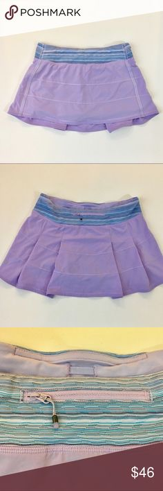 💕LULULEMON LAVENDER SKORT SIZE 8💕 Rare LULULEMON skort. Super cute lavender with a contrasting colorful waistband. 2 small pockets on the front zip pocket on back. Built in shorts. Perfect preowned condition  Size 8 lululemon athletica Shorts Skorts