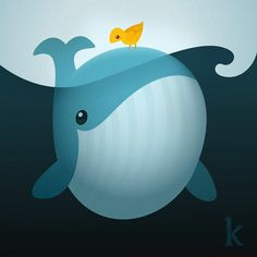 Whale and Bird  Karianne Hutchinson illustration Vector illustrator fish children art yellow canary sea ocean
