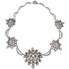Antique Diamond Silver-Topped Gold Necklace | From a unique collection of vintage more-necklaces at https://www.1stdibs.com/jewelry/necklaces/more-necklaces/