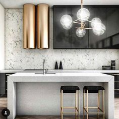 "1,025 Likes, 20 Comments - Alexandra Poster Bennaim (@alexandraposterbennaim) on Instagram: ""GOLDEN KITCHEN ✨✨✨✨✨✨✨✨✨✨#Repost @nataliereddell  Cooking up #GLAM in this stunning #kitchen…"""