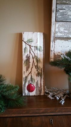 Christmas GIFTS UNDER 25, Hand painted Pine Branch with Red Bulb,  Reclaimed barnwood, Pallet art, Christmas decorations