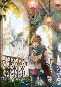 ✮ ANIME ART ✮ anime boy. . .explorer. . .dragons. . .castle. . .architecture. . .map. . .fairytale. . .fantasy. . .cute. . .kawaii