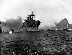 WELCOME HOME, MISSION ACCOMPLISHED  The USS General M.C. Meigs (AP-116) arrives at the port of Rio de Janeiro, Brazil, bringing back home Brazilian soldiers (Gl) who fought in Italy. July 18, 1945.
