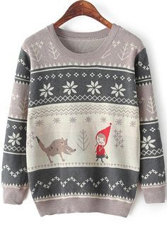 Grey Long Sleeve Cartoon Print Knit Sweater 19.67