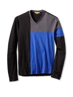 Beyond 50% OFF Versace Jeans Men\'s Colorblock T-Shirt (Blue)