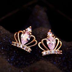 Cheap Noble Winky Princess' Silver Diamond Crown Earrings For Big Sale! Crown Earrings, Simple Earrings, Cute Earrings, Crystal Earrings, Diamond Earrings, Silver Earrings, Stud Earring, Silver Bracelets, Diamond Crown