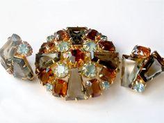 Juliana Keystone Set London Blue Brooch and Earrings by JewelryQuestDesign, $139.99