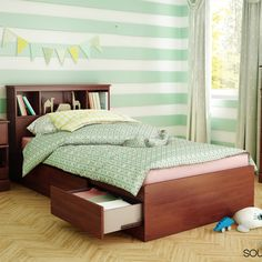 Little Treasures Twin Mate's Bed with Drawers and Bookcase Headboard