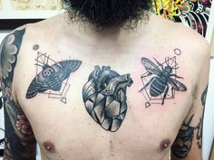 My chest - Geometrical Heart, a bee and a moath. I'm in love with blackwork!