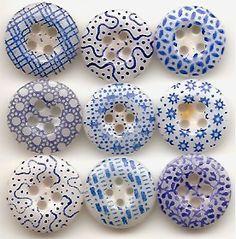 Color Azul - Blue 1800s Antique Calico China Buttons