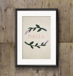 Hello Watercolor Illustration - Instant Download, Printable Art