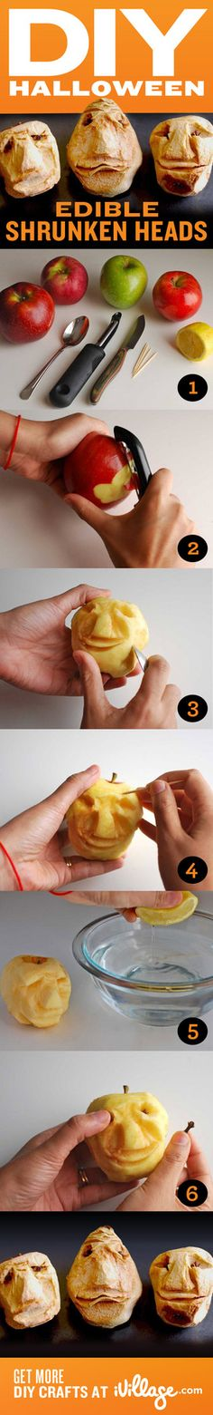 Your kids will love these edible shrunken apple heads. Get the fun how-to. #halloween #crafts