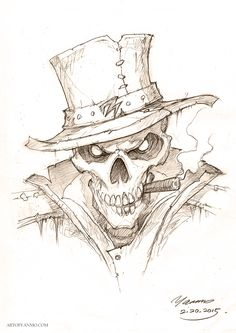 By bone, by skull, by justice! by YanmoZhang Bone detective. By bone, by skull, by justice! by YanmoZhang See it Pencil Art Drawings, Drawing Sketches, Cool Drawings, Drawings Of Skulls, Zombie Drawings, Comic Drawing, Tattoo Sketches, Drawing Art, Drawing Ideas