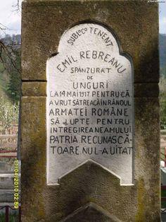 Pe 14 mai 1917, în pădurile Ghimeșului, pe atunci Austro-Ungaria, ofițerul român Emil Rebreanu, fratele faimosului scriitor, este spânzurat de către unguri, acuzat că a încercat să dezerteze la frații lui, în timpul Primului Război... Once Upon A Time, Romania, Army, Map, Country, Wallpaper, Deco, Politics, Geography