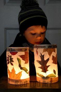 Leaf Crafts for Fall - Leaf Lantern Easy Crafts To Make, Fall Crafts For Kids, Toddler Crafts, Preschool Crafts, Kids Crafts, Art For Kids, Family Crafts, Craft Kids, Easter Crafts