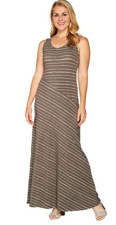 02e7683fa7a Lisa Rinna Collection Petite Striped Knit Maxi Dress — QVC.com